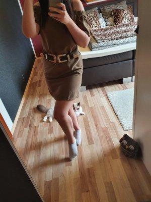 H&M Vestido de un hombro marrón grisáceo