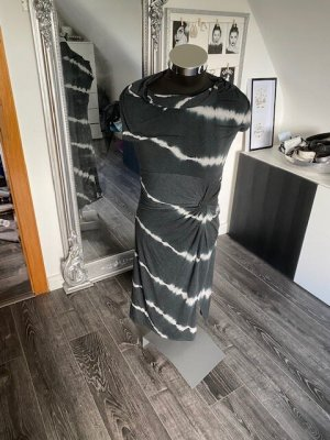 Khujo Vestido de tela de jersey gris antracita-blanco Algodón
