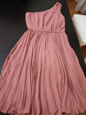 Mango One Shoulder Dress dusky pink