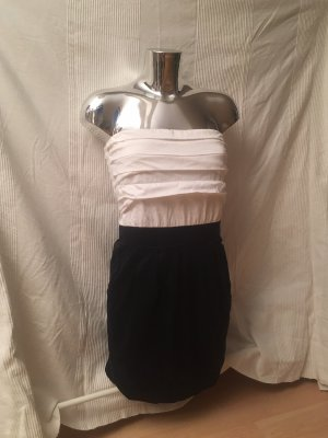 Mango Stretch jurk wit-donkerblauw