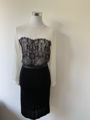 Kleid von Mango XS 34 creme schwarz Spitze knielang