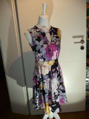 Kleid von Melrose - Gr. 38 - schwarz mit Blumen - elegant