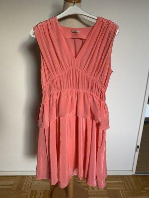 Miu Miu Sukienka z baskinką różowy-różowy Jedwab