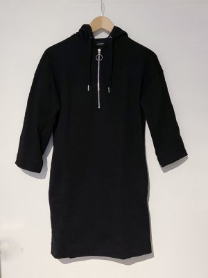 Monki Hooded Dress black-silver-colored cotton