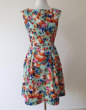 Boutique Moschino Sukienka midi turkusowy-czerwony