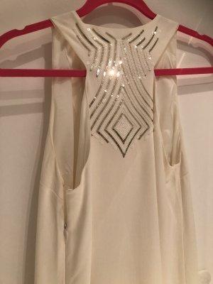 Patrizia Pepe Robe trapèze blanc cassé-doré acétate