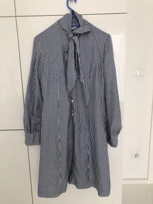 Robe chemisier blanc-bleu