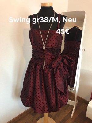 Swing vestido de globo burdeos-negro