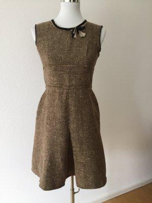 Prada Robe mi-longue marron clair-brun laine