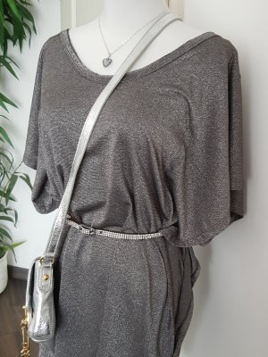 Replay Vestido de un hombro color plata-gris claro