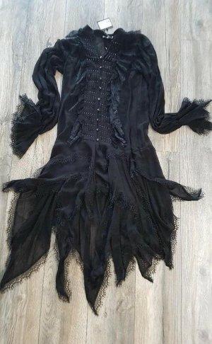 The Kooples Robe à volants noir viscose