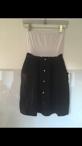 Vero Moda Bandeaujurk wit-zwart Katoen
