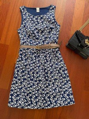 Villa Sukienka o kroju litery A biały-niebieski Bawełna