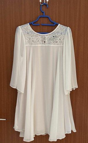 Kleid Weiß 34 XS 36 h&m Perlenverzierung Cut-outs