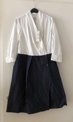 Vestido tipo blusón blanco-azul oscuro Algodón