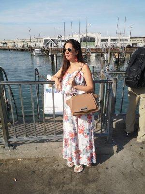 Kleid weiß Blumen Blüten rot blau S blogger hipster boho