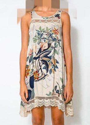 Kleid weiss bunt mit Spitze Gr 40 Neu