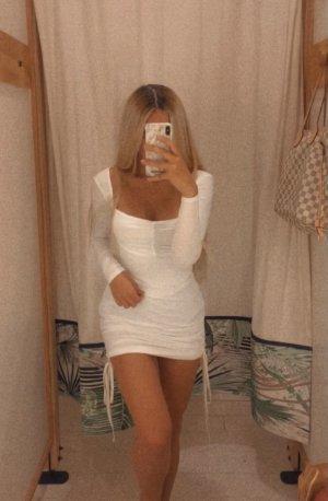 Kleid weiß minikleid ruched langärmelig elegant party