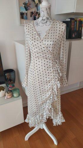 Kleid weiß schwarz gold mit Punkten Gr. M neu