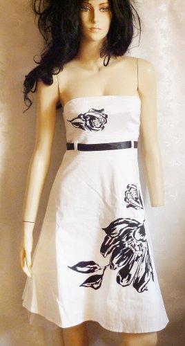 Kleid weiss schwarz mit Blumenprint u Satingürtel Gr. 36/38 Hochzeit