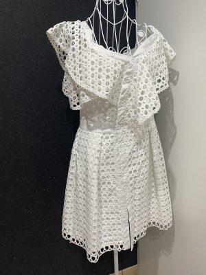 Kleid weiss Spitze Gr M-L Schulterfrei