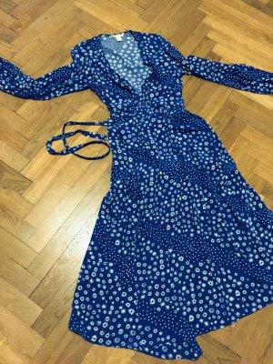 Kleid Wickelkleid blau Streublümchen Gr. 38 Gr. M H&M Edition Sommerkleid Blümchen