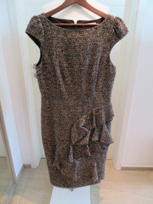 Kleid Winter Karen Millen Wollkleid Groesse 16 volant braunmeliert Etuikleid
