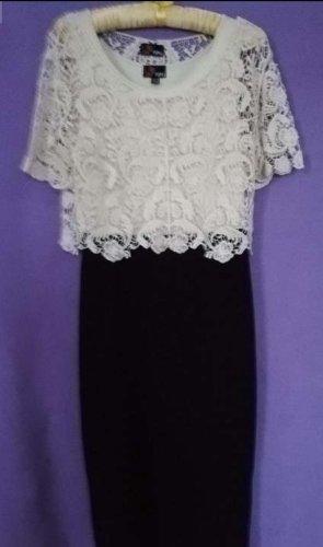 Yumi Sukienka z krótkim rękawem czarny-kremowy