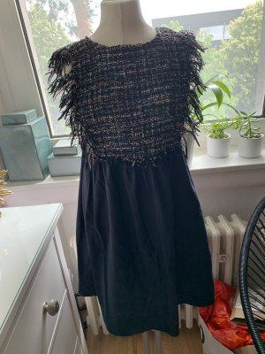 Zara Vestido con flecos azul