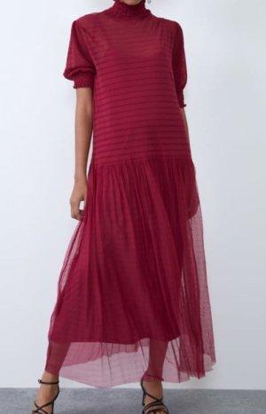 Zara Vestido de baile rojo oscuro