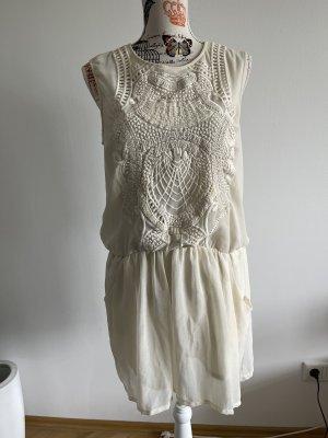 Kleid Zara besticktes Oberteil - creme