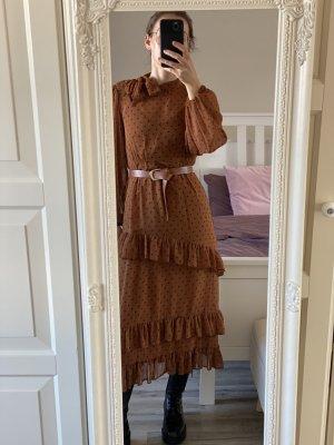 Kleid Zara brau schwarz XS 34 Punkte Schleife Volants midi lang