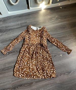 Kleid Zara braun weiß gepunktet Punkte Flecken Muster rüschen langarm