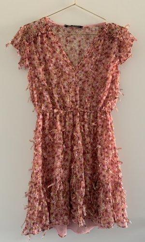Zara Robe à franges multicolore