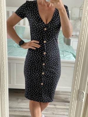Kleid zara schwarz weiß Punkte S 36 Knöpfe