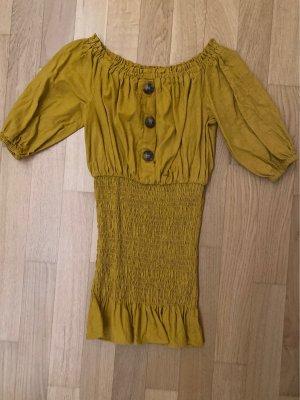 Zara Off the shoulder jurk goud Oranje-oker
