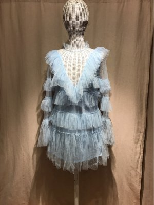 SheIn Fringed Dress light blue-azure