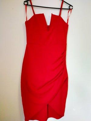 AX Paris Sukienka z dzianiny czerwony Tkanina z mieszanych włókien