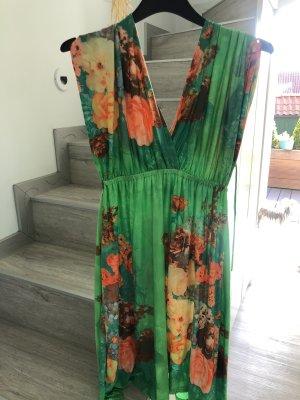 Sukienka gorsetowa pomarańczowy neonowy-zielony