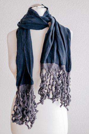 Kleiderklein Cocon Commerz Seide Schal Tuch dunkelblau Fransen Boho grau