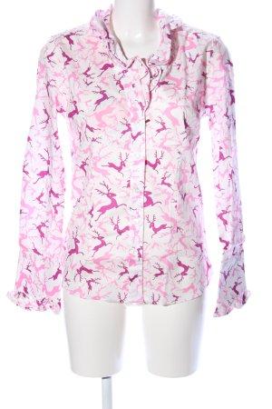 Kleidermanufaktur Habsburg Stand-Up Collar Blouse white-pink themed print