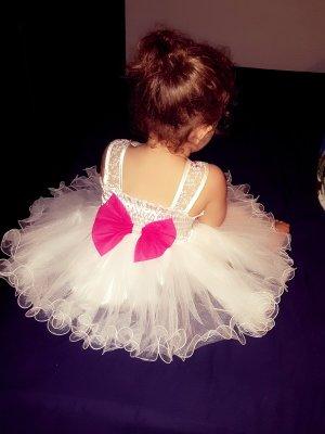100% Fashion Vestido línea A blanco-color rosa dorado
