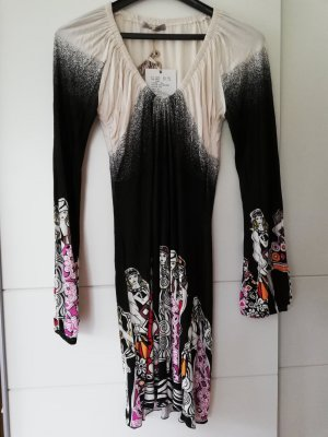 100% Fashion Vestido de manga larga blanco-negro