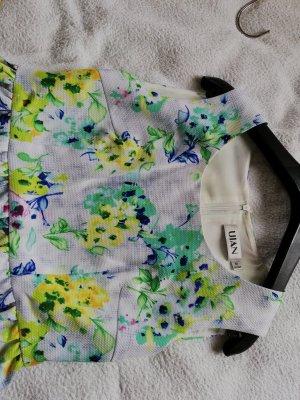 100% Fashion Vestido de manga corta blanco-verde claro