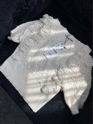 Zara Top en maille crochet blanc cassé-crème