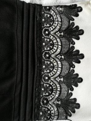 100% Fashion Kanten jurk wit-zwart