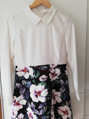 100% Fashion Vestido línea A blanco-negro