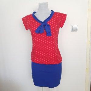 Robe en jersey rouge-bleu coton