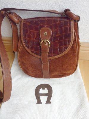 Kleine Aigner Schulter-Tasche, rot-braun, Velourleder mit Kroko