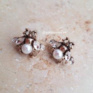 kleine Bienen Ohrringe Ohrstecker antiksilberfarben mit kleinen Perlen Gucci Style